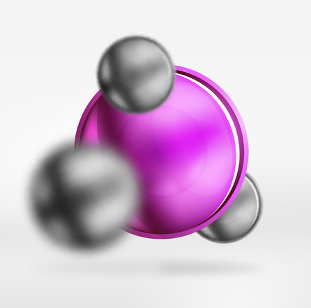 Tech blurred spheres and round circles with glossy and metallic surface. Illustration