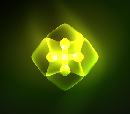 Glowing green glass transparent pentagans, geometric abstract digital background. Vector illustration