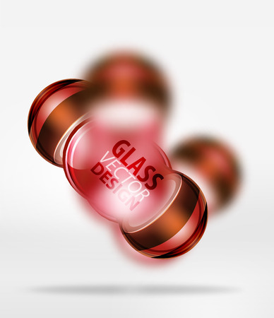 Red 3d techno glass bubble design, vector future hi-tech shapes with blurred effects