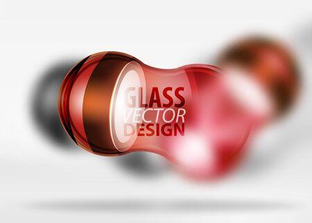 Red techno glass bubble design. Illustration