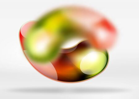 Digital techno abstract background, grey 3d space with glass curvy bubble