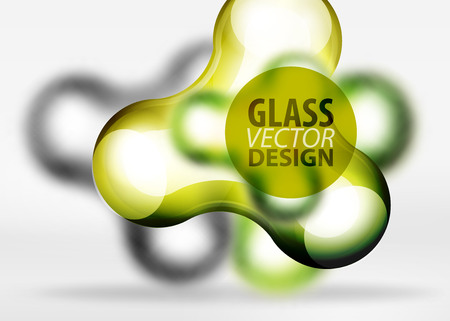 futuristic: Vector digital 3d space yellow bubble, glass and metallic effects. Technology abstract background Illustration