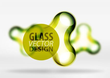 Vector digital 3d space yellow bubble, glass and metallic effects. Technology abstract background Illustration