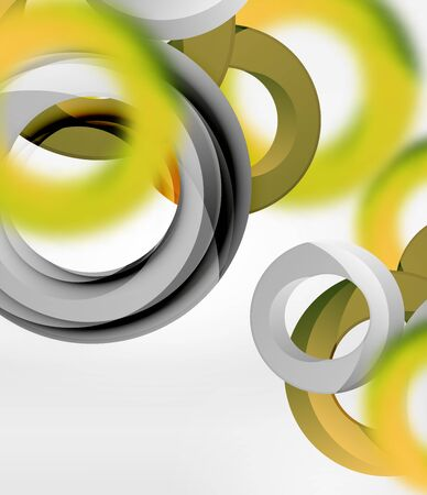 Abstract rings composition in grey 3d space with blurred effects.