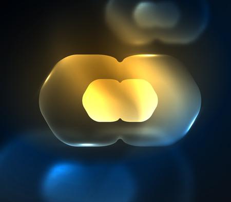 Blurred transparent hexagons on dark, digital abstract background.