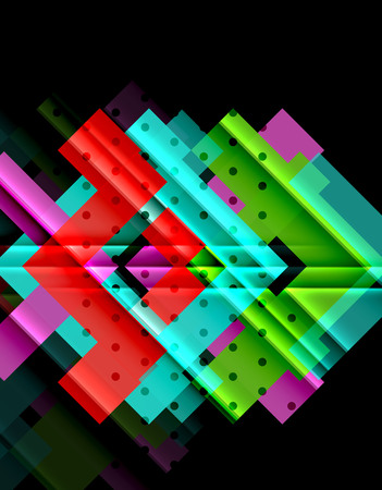 Colorful triangles and arrows on dark background