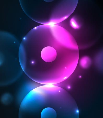 night vision: Blurred glowing circles, digital abstract, hi-tech futuristic template.
