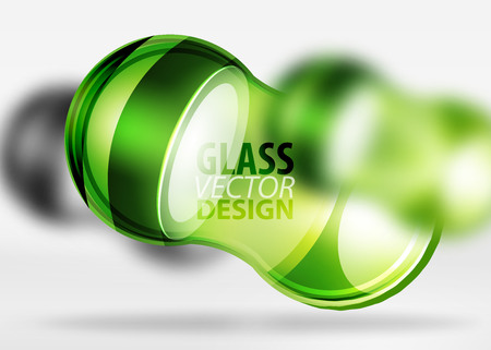 shiny buttons: Green 3d techno glass bubble design, vector future hi-tech shapes with blurred effects Illustration