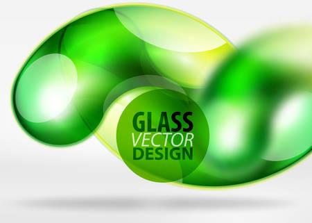 Digital green techno with glass curvy bubble. Illustration
