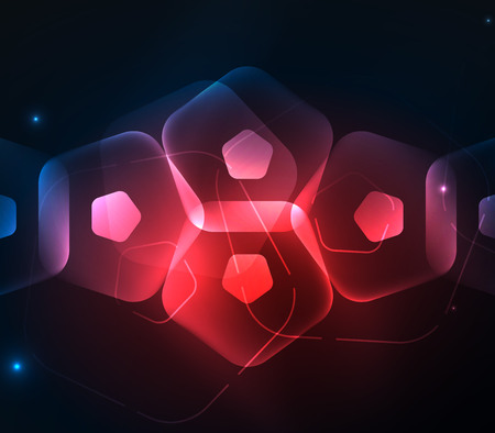 Glowing glass transparent pentagans, geometric abstract digital background Illustration