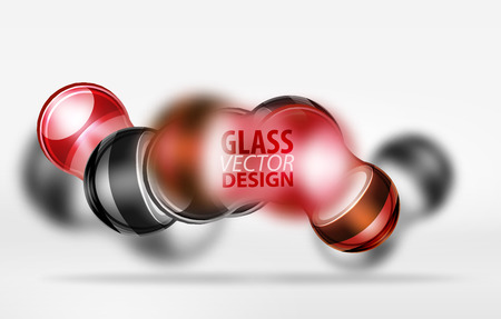 translucent red: Red 3d techno glass bubble design, vector future hi-tech shapes with blurred effects