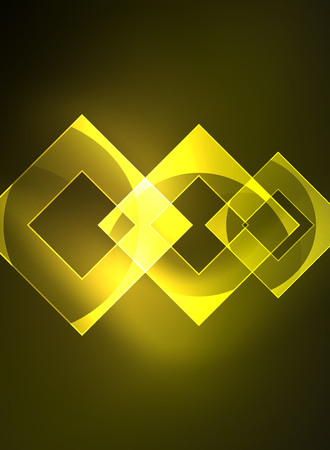 Glowing squares in the dark, digital abstract background, vector technology hi-tech template