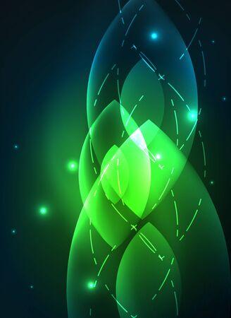 Glowing modern geometric shapes in dark space