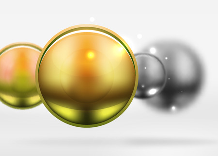 Tech blurred spheres and round circles with glossy and metallic surface. Vector realistic 3d objects, hi-tech technology abstract background
