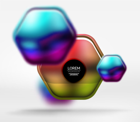 chrome: Metallic realistic texture on 3d hexagons, vector digital backdrop. Abstract background futuristic techno template