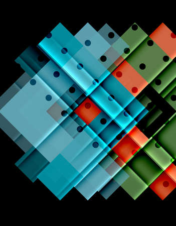 Colorful geometrical shapes with dots  on dark background