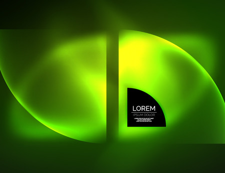 computer club: Abstract vector round banner, glowing round elements, geometric shape abstract background, green color