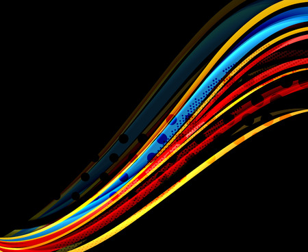 Rainbow color wavy lines on black illustration.