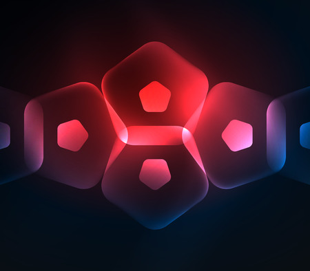 Glowing red glass transparent pentagans, geometric abstract digital background. Vector illustration Vetores