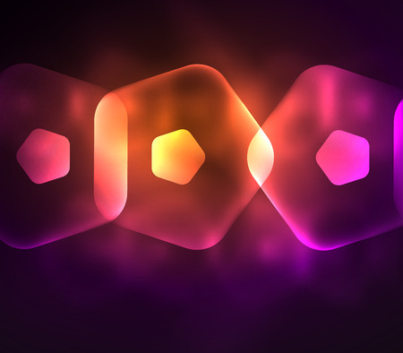 Glowing purple and orange glass transparent pentagans, geometric abstract digital background. Vector illustration