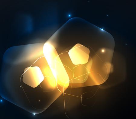 Glowing glass transparent pentagans, geometric abstract digital background. Vector illustration Illustration