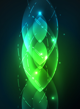 Glowing modern geometric shapes in dark space. Vector digital abstract background Illustration