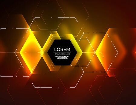 Digital techno abstract background, glowing hexagons.