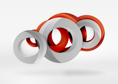 Modern 3d ring composition in grey and white space, vector abstract background Vettoriali
