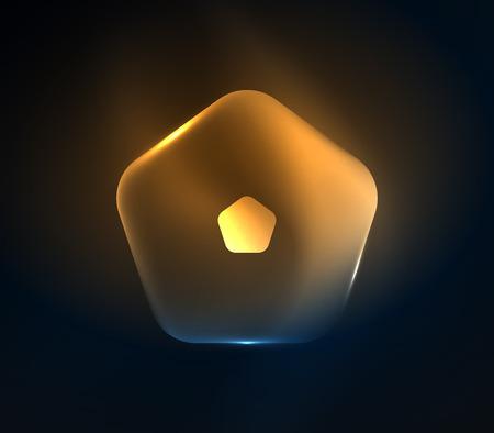 Glowing glass transparent geometric pattern.