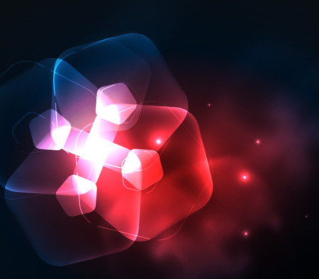 Glowing red glass, geometric abstract digital background Illustration