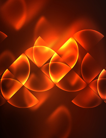 Abstract vector round banner, glowing round elements, geometric shape abstract background, red and orange colors