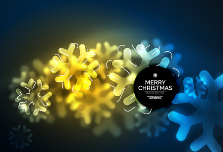 Glowing Winter Snowflakes on dark, Christmas and New Year holiday background Illustration