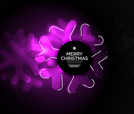 glint: Glowing Winter Snowflakes on dark, Christmas and New Year holiday background. Vector abstract background, purple color