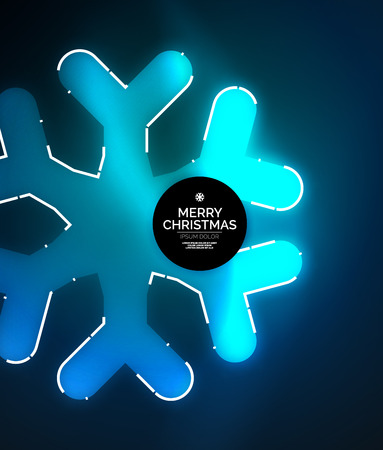 Glowing Winter Snowflakes on dark, Christmas and New Year holiday background. Vector abstract background, blue color