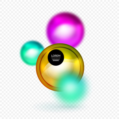 shiny buttons: Sphere 3d vector banner, abstract background