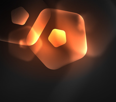 Glowing orange glass transparent pentagans, geometric abstract digital background. Vector illustration