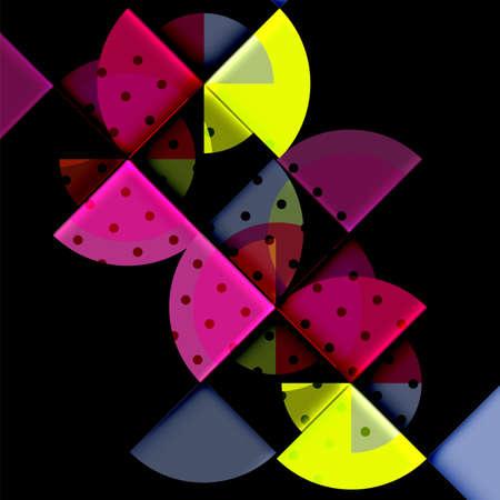 Circle elements on black background, vector geometric template design Illustration
