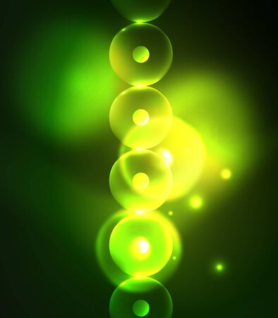 Blurred glowing circles, digital abstract background. Vector hi-tech futuristic template Illustration