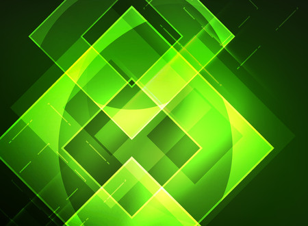 Glowing squares in the dark, digital abstract background Illustration