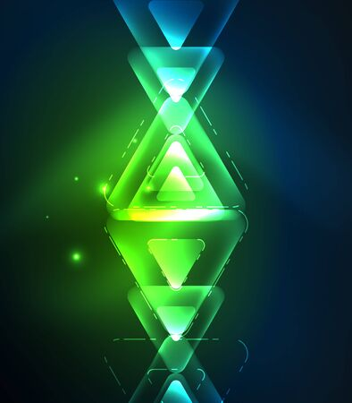 Glass glowing bright triangles on dark space design abstract background