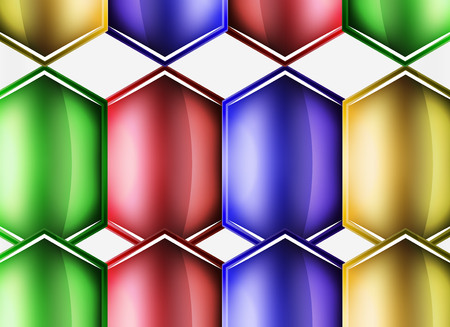 Glossy glass shapes abstract background, vector Illustration