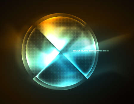 business graphics: Circular glowing neon shapes, techno background