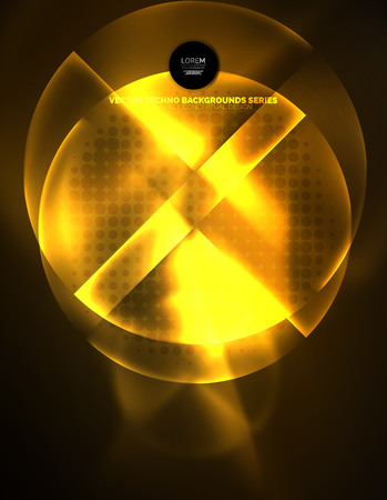 Circular yellow glowing neon shapes, techno background. Illustration