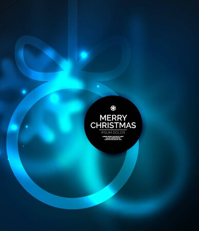 Christmas baubles, vector magic dark background with glowing New Year spheres. Holiday Christmas template, blue color