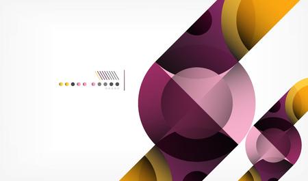 カラーサークル抽象的な幾何学的背景、メッセージ付きの近代的な形状。ベクトルテクノまたはビジネステンプレート、丸い要素  イラスト・ベクター素材