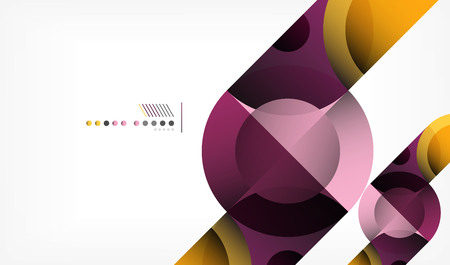 Color circle abstract geometric background, modern shapes with message. Vector techno or business template, round elements Illustration