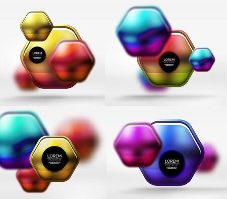 Collection of 3d metal geometric objects, vector techno banners