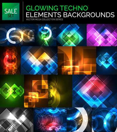 Set of glowing neon techno shapes, abstract background collection Illustration