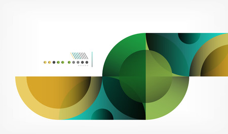 Color circle abstract geometric background, modern shapes with message. Vector techno or business template, round elements Ilustração