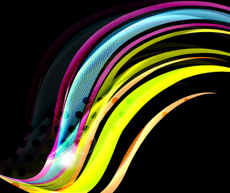 Rainbow color wavy lines on black background. Minimalistic dark background with stripes and light effects Illustration